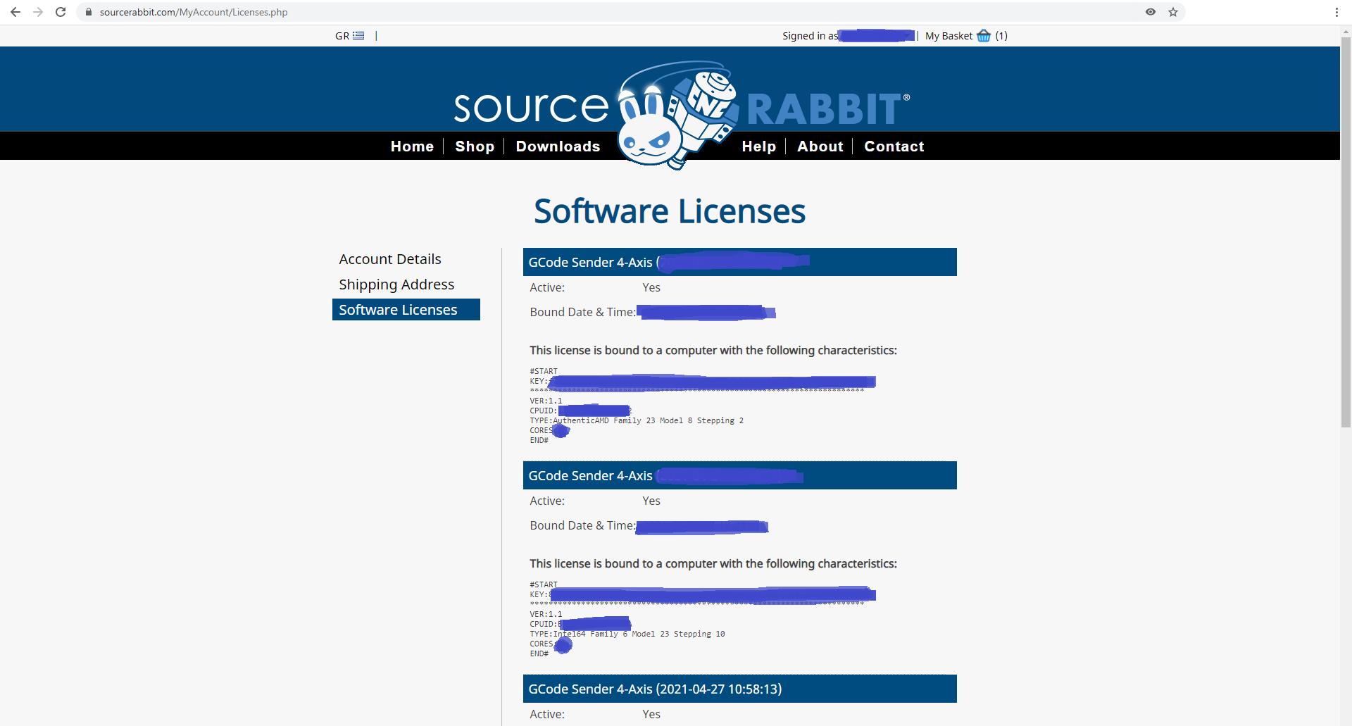 Διαχείριση αδειών GCode Sender 4-Axiw
