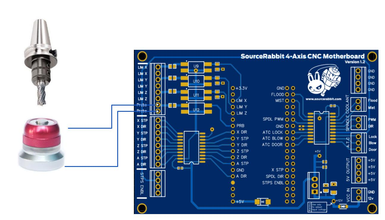 Tool setter wiring with SourceRabbit 4-Axis CNC Motherboard