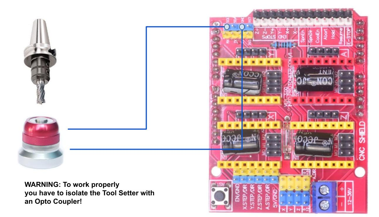 Tool setter wiring with Arduino Uno and CNC Shield